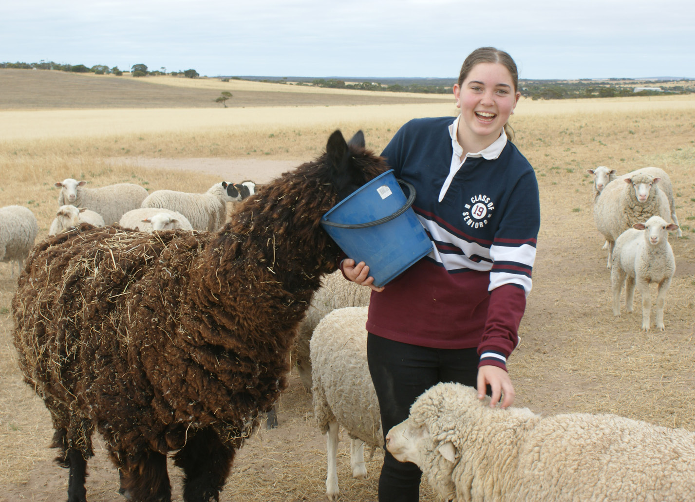 Stephanie Redden feeding animals in regional South Australia