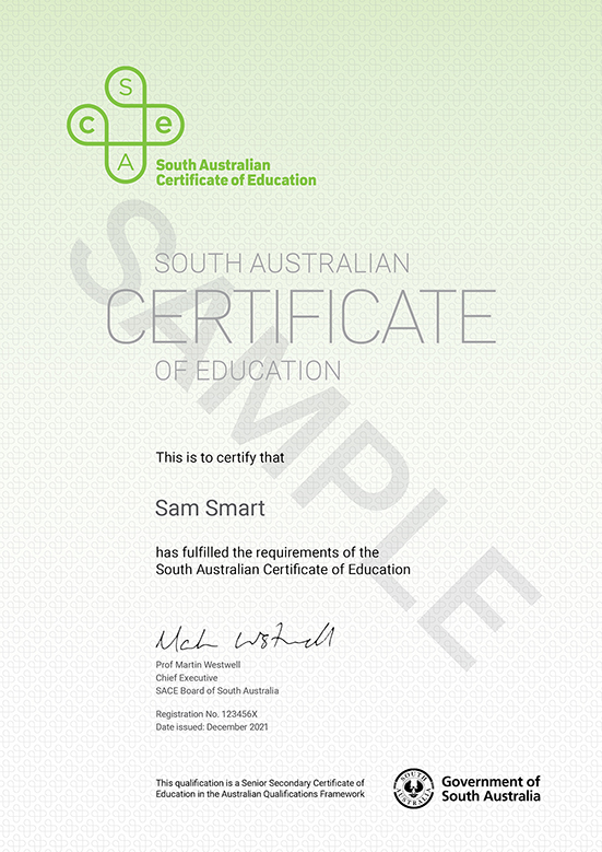 Sample South Australian Certificate of Education 2017
